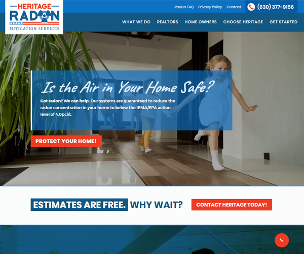 Heritage Radon Website Design