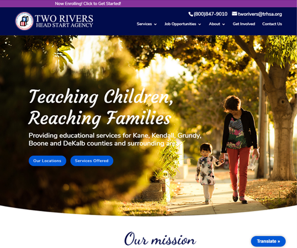 Two Rivers Head Start Agency Website Design