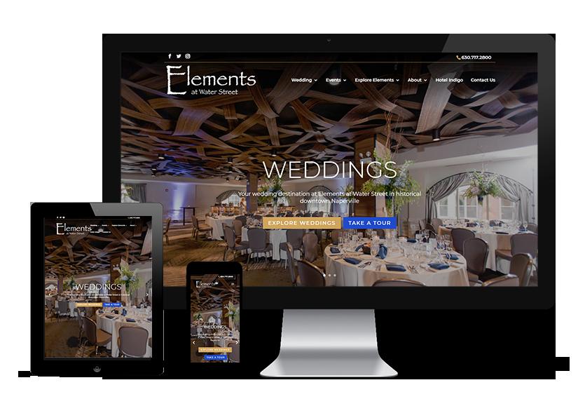 Elements of Water Street website viewed on desktop tablet and mobile