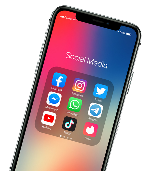 iPhone showing social media apps