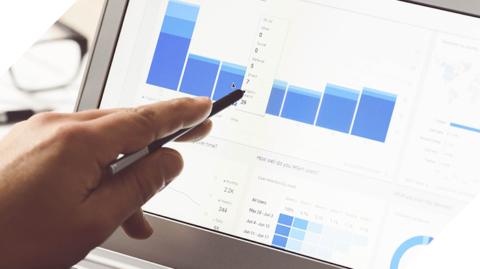 using touch screen table to view analytics data