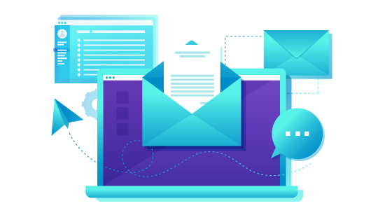 Email Marketing colorful image showing laptop, envelope, messages and user screen