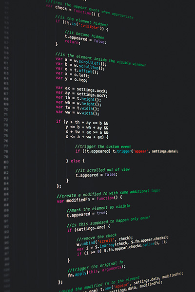 Detail of code on a monitor