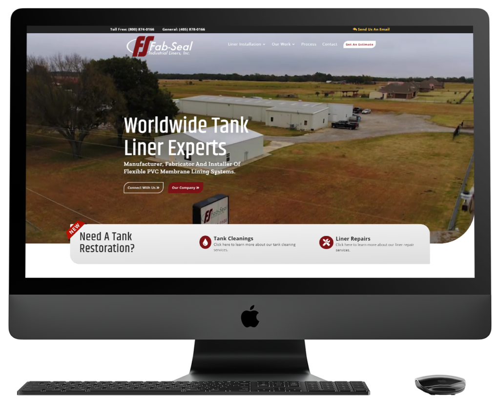 Fab Seal Website viewed on a Mac Desktop monitor