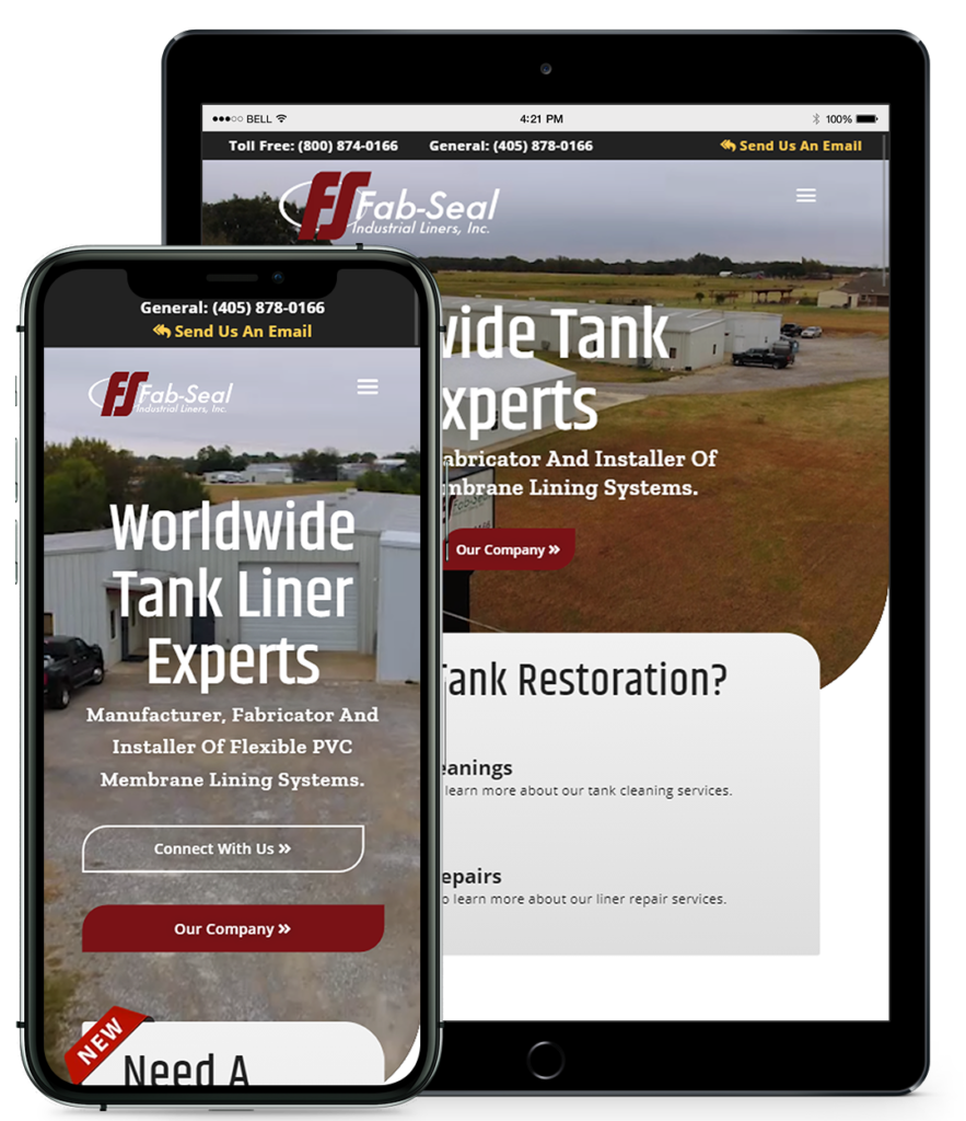 Fab Seal Website viewed on a tablet and phone
