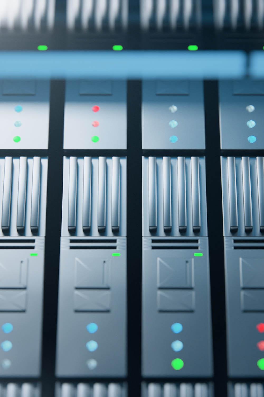 Close up photo of server rack